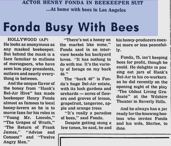 henry fonda beekeeper