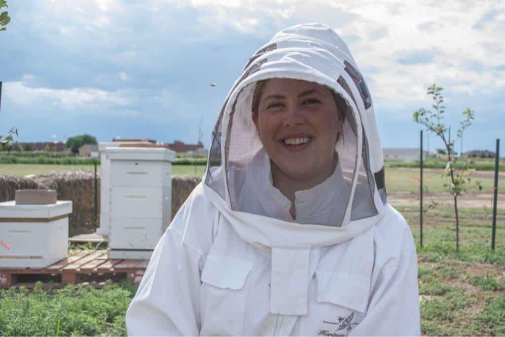 Nicole Gennetta in bee suit