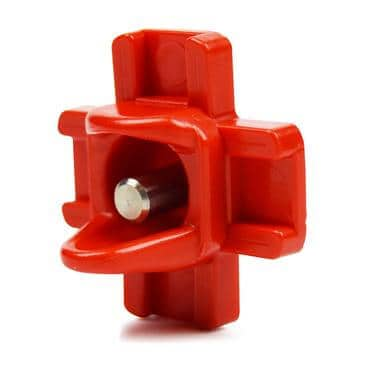 side view of red chicken nipple waterer