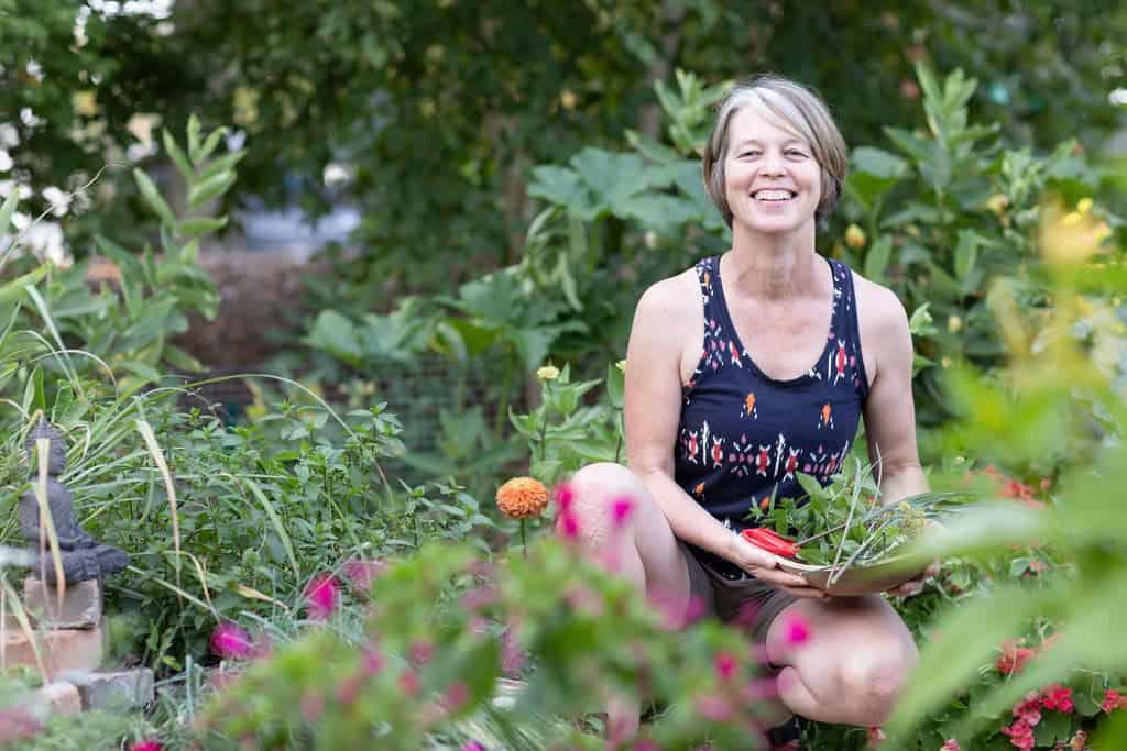 Megan from The Creative Vegetable Gardener in vegetable garden